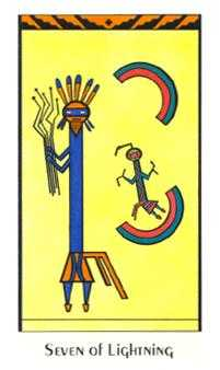 Seven of Rods Tarot Card - Santa Fe Tarot Deck