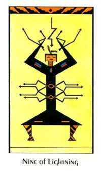 Nine of Batons Tarot Card - Santa Fe Tarot Deck