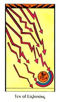 Ten of Staves Tarot Card - Santa Fe Tarot Deck
