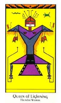 Queen of Rods Tarot Card - Santa Fe Tarot Deck