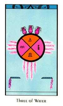 Three of Bowls Tarot Card - Santa Fe Tarot Deck