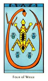 Four of Cauldrons Tarot Card - Santa Fe Tarot Deck