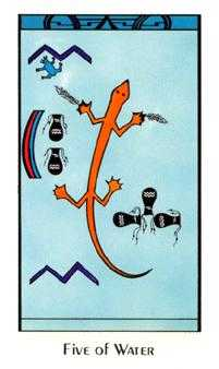 Five of Bowls Tarot Card - Santa Fe Tarot Deck
