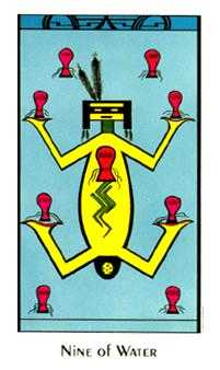 Nine of Bowls Tarot Card - Santa Fe Tarot Deck