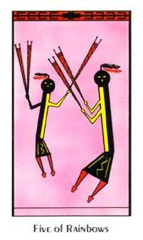 Five of Wind Tarot Card - Santa Fe Tarot Deck