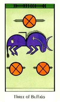 Three of Buffalo Tarot Card - Santa Fe Tarot Deck