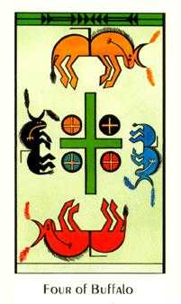 Four of Diamonds Tarot Card - Santa Fe Tarot Deck