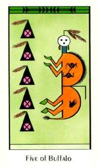Five of Diamonds Tarot Card - Santa Fe Tarot Deck