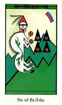 Six of Coins Tarot Card - Santa Fe Tarot Deck