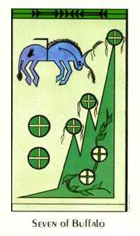 Seven of Pentacles Tarot Card - Santa Fe Tarot Deck