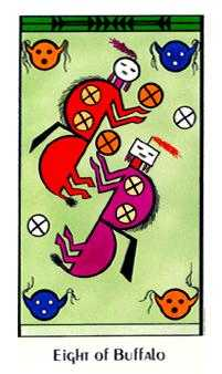 Eight of Discs Tarot Card - Santa Fe Tarot Deck