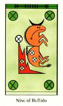 Nine of Coins Tarot Card - Santa Fe Tarot Deck