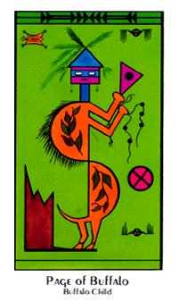 Page of Buffalo Tarot Card - Santa Fe Tarot Deck