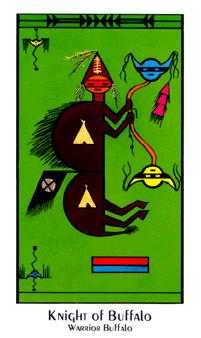 Knight of Buffalo Tarot Card - Santa Fe Tarot Deck