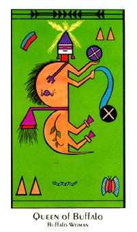 Queen of Buffalo Tarot Card - Santa Fe Tarot Deck