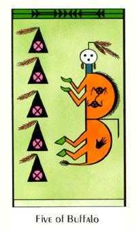 Five of Buffalo Tarot Card - Santa Fe Tarot Deck