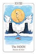 The Moon Tarot card in Simplicity deck