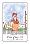Two of Wands Tarot card in Simplicity deck