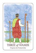 Three of Wands Tarot card in Simplicity deck