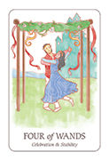Four of Wands Tarot card in Simplicity deck