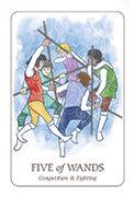Five of Wands Tarot card in Simplicity deck