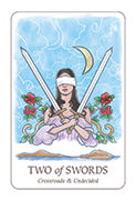 Two of Swords Tarot card in Simplicity deck
