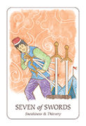 Seven of Swords Tarot card in Simplicity deck