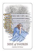Nine of Swords Tarot card in Simplicity deck
