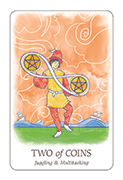 Two of Coins Tarot card in Simplicity deck