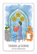 Three of Coins Tarot card in Simplicity deck