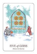 Five of Coins Tarot card in Simplicity deck