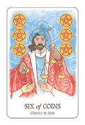 Six of Coins Tarot card in Simplicity deck