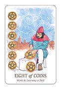 Eight of Coins Tarot card in Simplicity deck