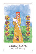 Nine of Coins Tarot card in Simplicity deck