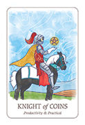 Knight of Coins Tarot card in Simplicity deck
