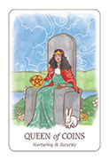 Queen of Coins Tarot card in Simplicity deck