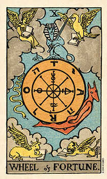 The Wheel of Fortune Tarot Card - Smith Waite Centennial Tarot Deck