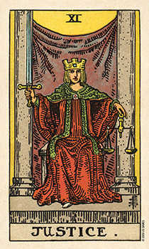 Justice Tarot Card - Smith Waite Centennial Tarot Deck