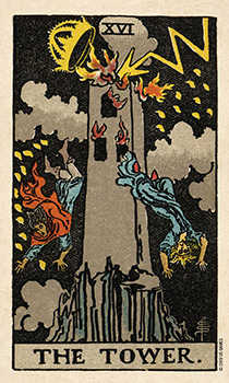 The Falling Tower Tarot Card - Smith Waite Centennial Tarot Deck