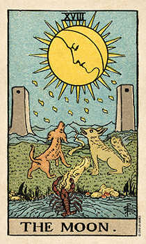 The Moon Tarot Card - Smith Waite Centennial Tarot Deck