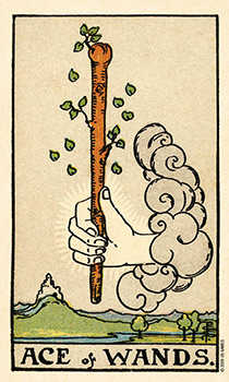 Ace of Rods Tarot Card - Smith Waite Centennial Tarot Deck