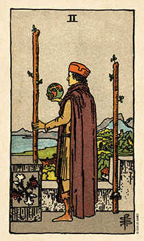 Two of Staves Tarot Card - Smith Waite Centennial Tarot Deck