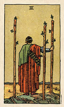 Three of Sceptres Tarot Card - Smith Waite Centennial Tarot Deck