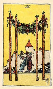 Four of Sceptres Tarot Card - Smith Waite Centennial Tarot Deck