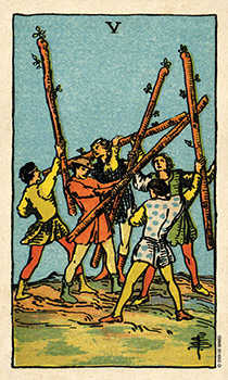 Five of Rods Tarot Card - Smith Waite Centennial Tarot Deck