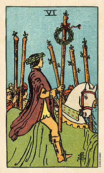 Six of Staves Tarot Card - Smith Waite Centennial Tarot Deck