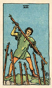 Seven of Rods Tarot Card - Smith Waite Centennial Tarot Deck