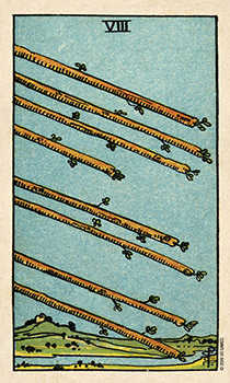 Eight of Staves Tarot Card - Smith Waite Centennial Tarot Deck