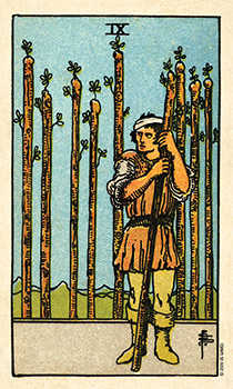 Nine of Pipes Tarot Card - Smith Waite Centennial Tarot Deck