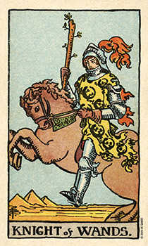 Knight of Rods Tarot Card - Smith Waite Centennial Tarot Deck